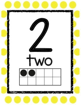 Neon Polka Dot Decor Number Posters