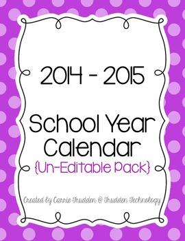 Bright Dots Teacher Calendar for 2014-2015 {Un-Editable}