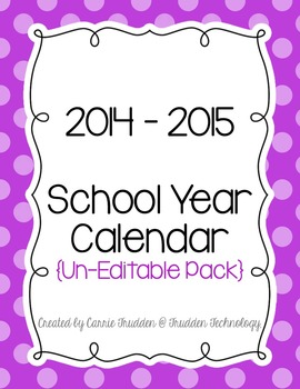 Bright Dots Teacher Calendar for 2014-2015 {Un-Editable}