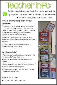 Bright Dots Theme Classroom Behavior Clip Up Chart
