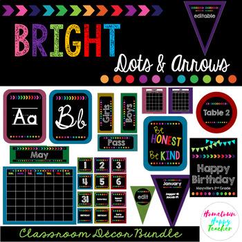 Bright- Dots and Arrows Classroom Decor Bundle (Editable)