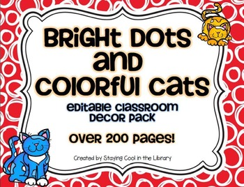 Bright Dots and Colorful Cats Classroom Decor Pack