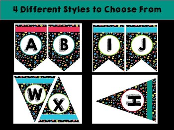 Bright Dots on Black Bulletin Board Letters: Bunting/Pennet Style