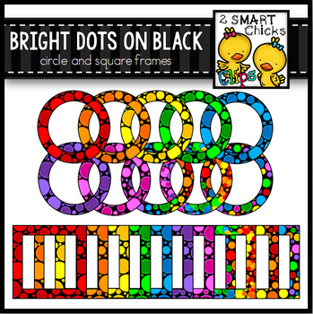 Bright Dots on Black Circle and Square Frames
