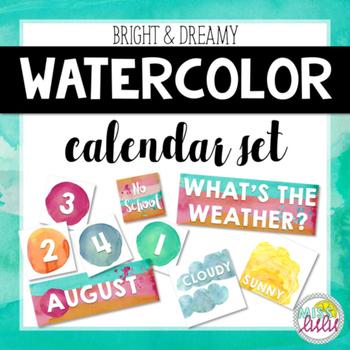 Bright & Dreamy Watercolor Classroom Calendar Set
