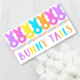 Bright Easter Bunny Tails Printable Bag Toppers, Easter Pa