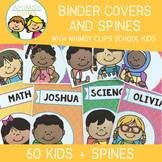 Bright Editable Binder Covers and Spines - Whimsy Clips School Kids