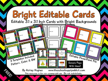 FREE Bright Editable Cards {A Hughes Design}