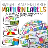 Bright & Editable Math Bin Labels