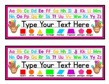 Bright Editable Name Plates