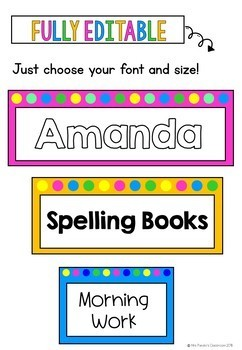 Bright Editable Polka Dot Labels {5 Sizes}