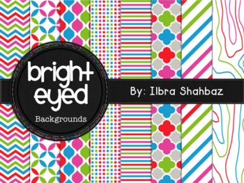 Bright Eyed Digital Paper Backgrounds
