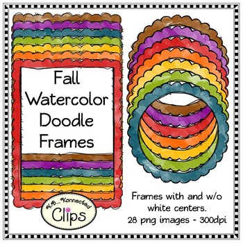Bright Fall Watercolor Doodle Frames - Clip Art