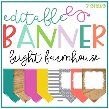 Bright Farmhouse Editable Banner
