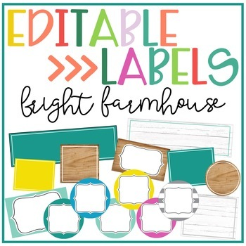 Bright Farmhouse Editable Labels