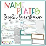 Bright Farmhouse Editable Name Tags - Desk Plates