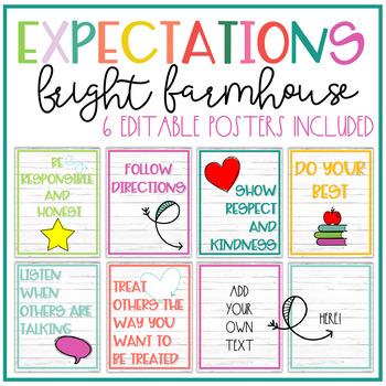 Bright Farmhouse Expectations Posters - EDITABLE