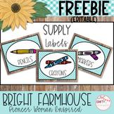 Bright Farmhouse - Pioneer Woman Inspired - Editable Supply Labels FREEBIE!