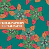 Bright Floral Pattern Digital Paper / Clip Art / Digital B