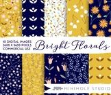 Bright Floral Pattern Digital Paper Pack, Mustard Navy Bot