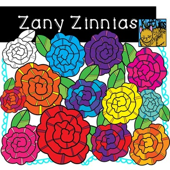 Bright Flower Clip Art Zany Zinnias by Kid-E-Clips Commercial and Personal Use