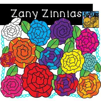 Bright Flower Clip Art Zany Zinnias by Kid-E-Clips Commerc