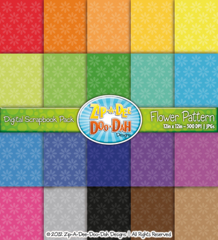 Bright Flower Pattern Digital Scrapbook Pack — Basic Bundl