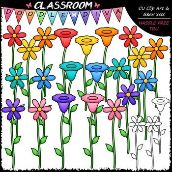 Bright Flowers 2 Clip Art & B&W Set