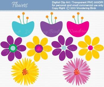 Bright Flowers clip art - set of 9 clip arts