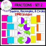 Bright Fractions Clip Art - Squares, Rectangles, & Circles