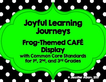 Bright Frog Themed CAFE Bulletin Board with CCSS