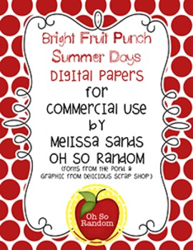 Bright Fruit Punch Summer Days {Papers for Commercial Use}