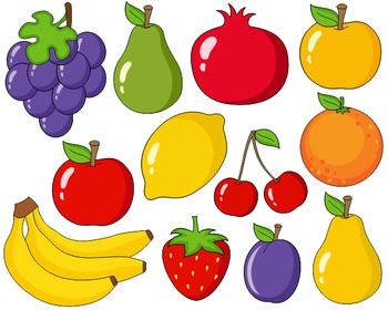 Bright Fruits Clip Art Set, Grapes, Pear, Apple, Lemon, Orange, Bananas, Plum
