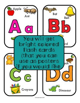Bright Fun ABC Posters and Flashcards with A Guide Page