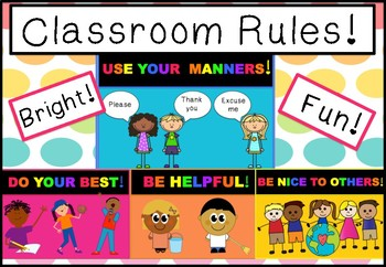Bright & Fun Classroom Rules Display Posters