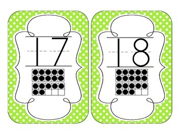 Bright Green Polka Dot Number Cards 1-20