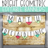Bright Geometric Editable Pennant Banners