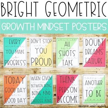 Bright Geometric Growth Mindset Posters