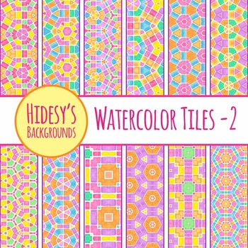 Bright Geometric Watercolor Tiles Backgrounds Clip Art Pack for Commercial Use