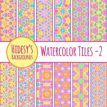 Bright Geometric Watercolor Tiles Backgrounds Clip Art Pac