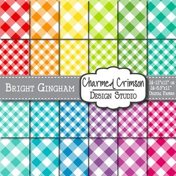 Bright Gingham Digital Paper 1297