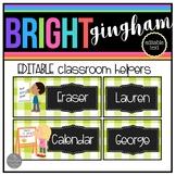Bright Gingham EDITABLE Classroom Job Chart