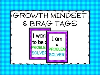 Bright Gingham Growth Mindset and Brag Tags