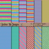 Bright Glitter Fairy Chevron, Polka Dot & Striped Papers &