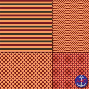 Autumn Love (Fall Colors) Chevron, Polka Dot & Striped Paper Pack