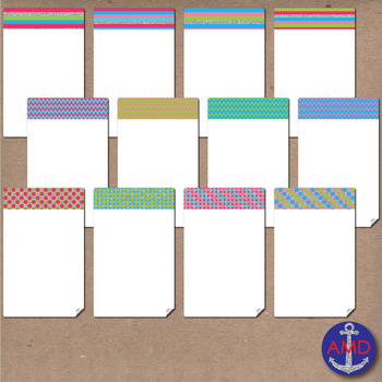 Bright Glitter Fairy Chevron, Polka Dot & Striped Post-its, Labels and Notecards