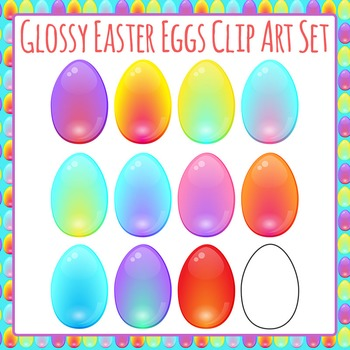 Bright Glossy Easter Eggs Commercial Use Clip Art Set