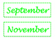 Bright Green Calendar Numbers and Months