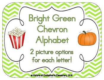 Bright Green Chevron Alphabet Cards