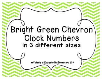 Bright Green Chevron Clock Numbers